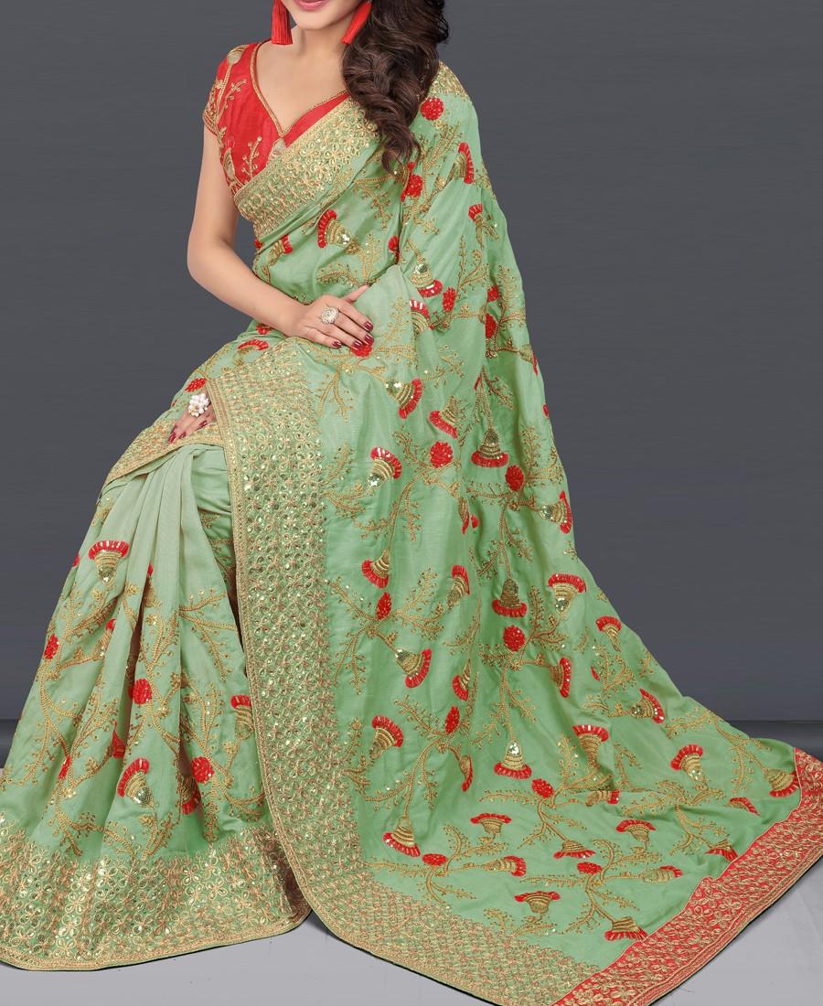 VF - Embellished Olive green two tone vichitra silk saree