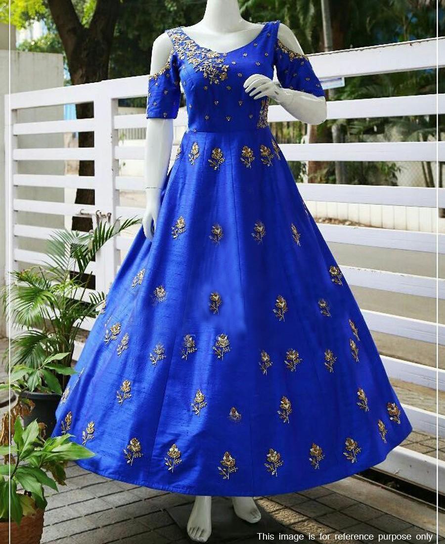 RE - Heavenly Blue Taffeta Silk Fancy Hand work Gown