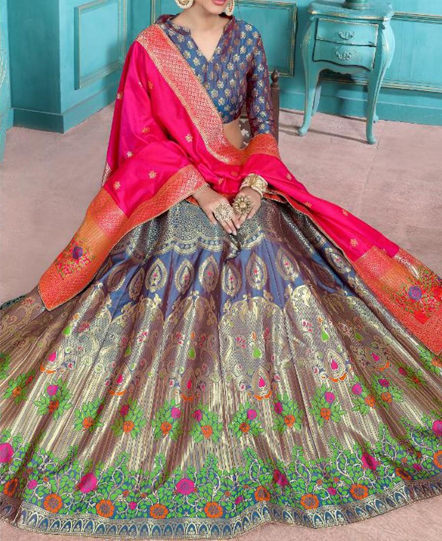 VF - Evergreen jacquard silk Multi color lehenga choli