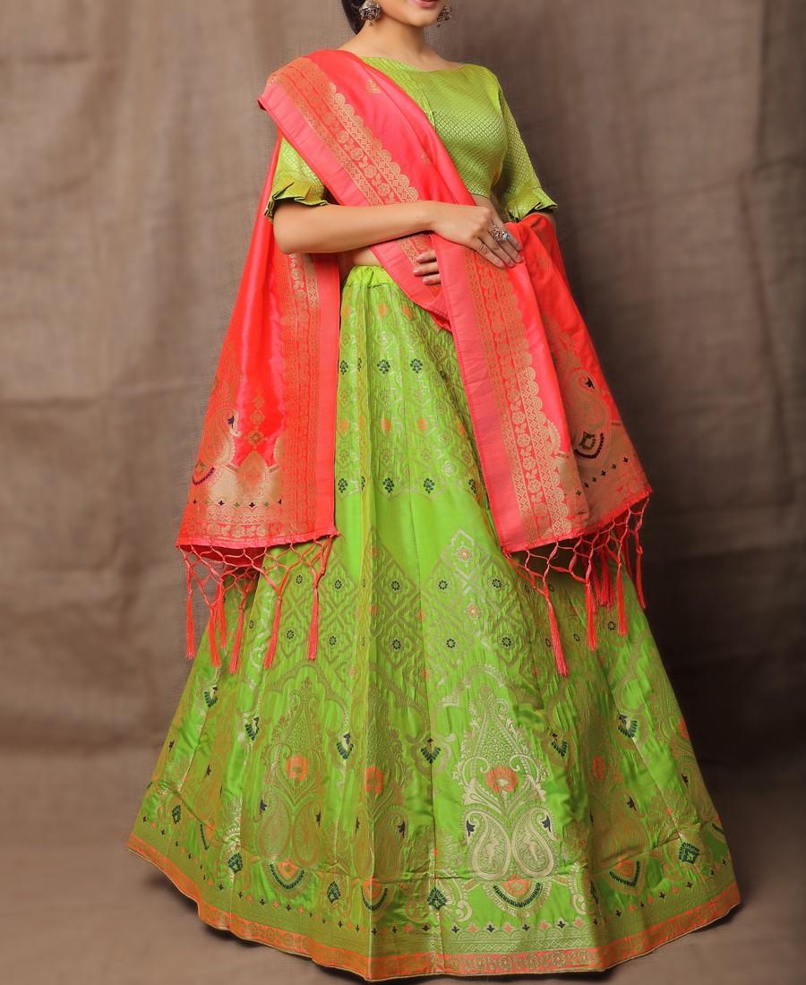 VF - Evergreen Jacquard Silk Parrot Green Lehenga Choli