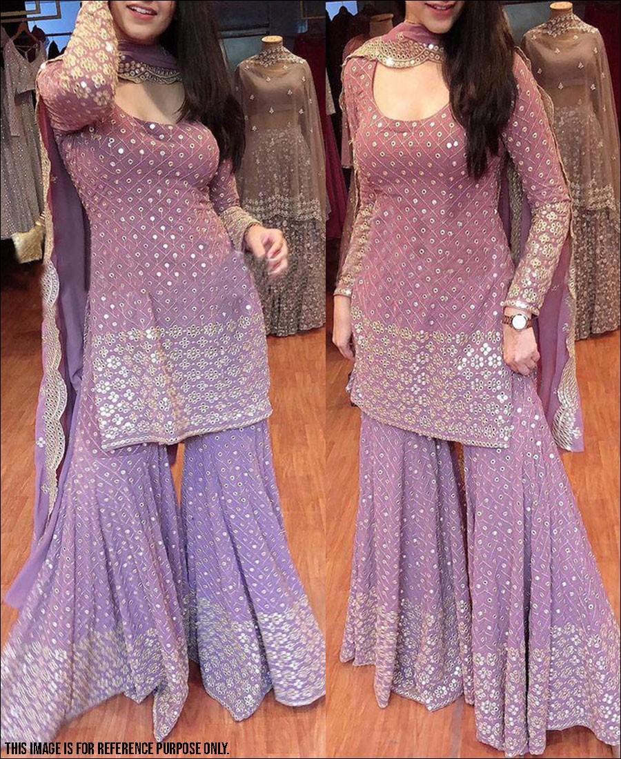 RE - Lavender Colored Faux Georgette Semi-Stiched Salwar Suit