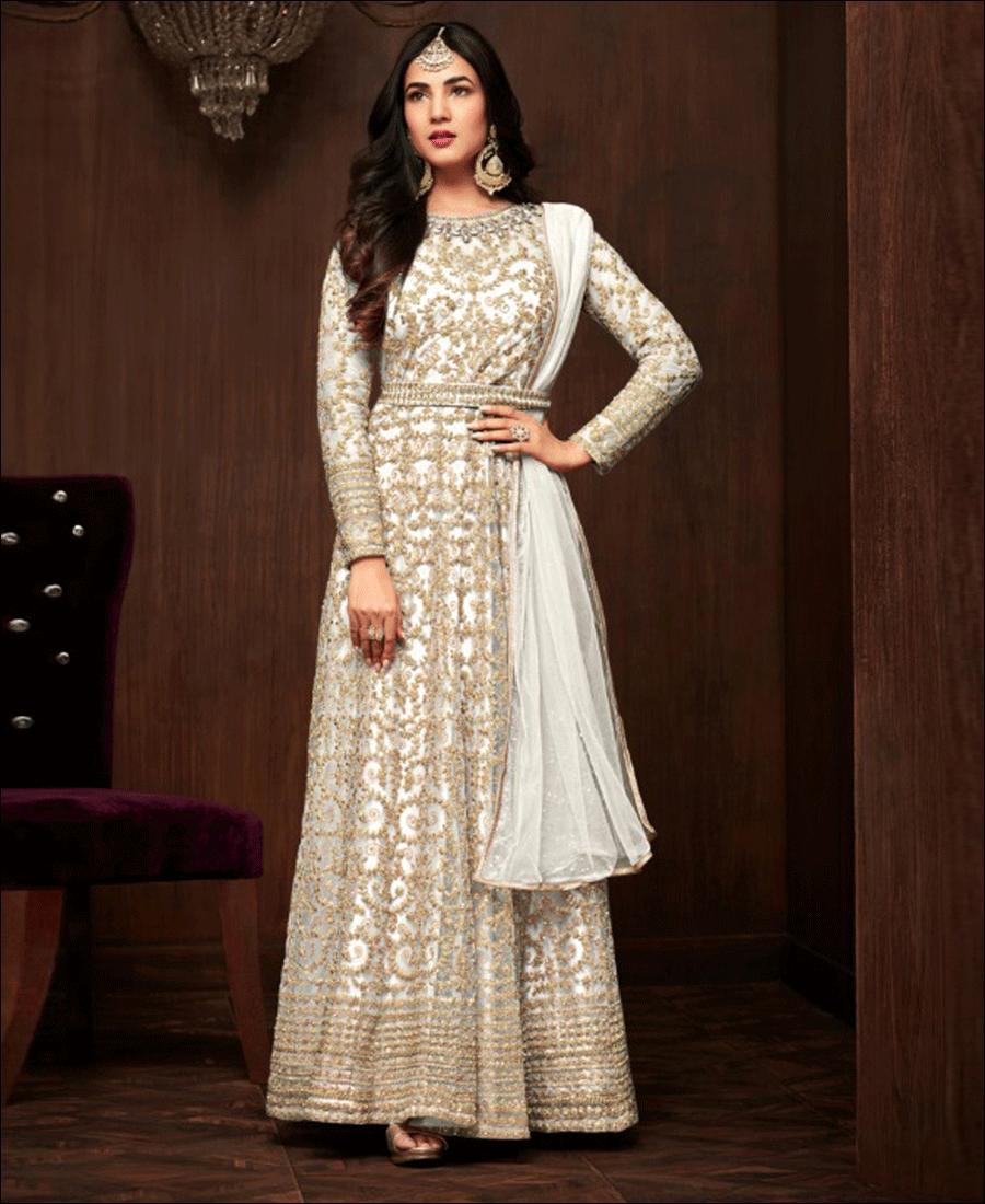 RF - Abaya Style White Soft Net Anarkali  Suit