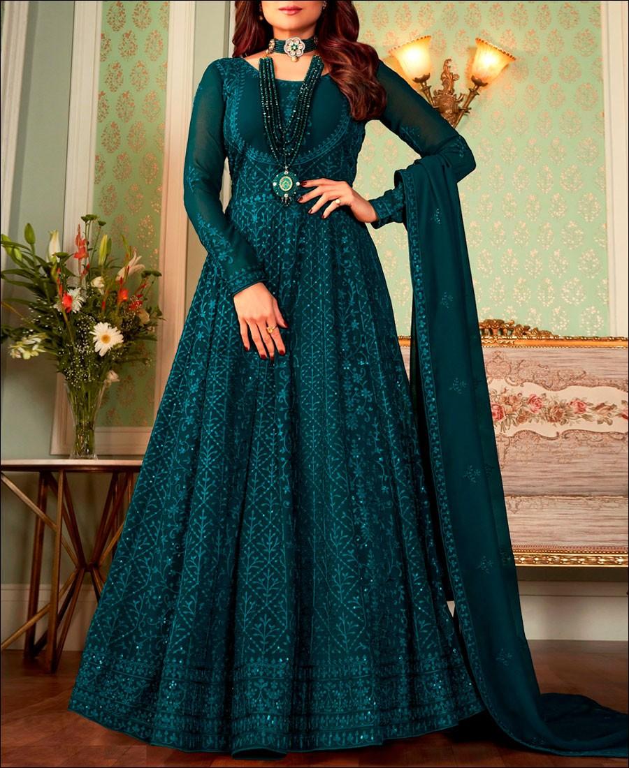 RF - Aqua Blue color Georgette Gown Dress.