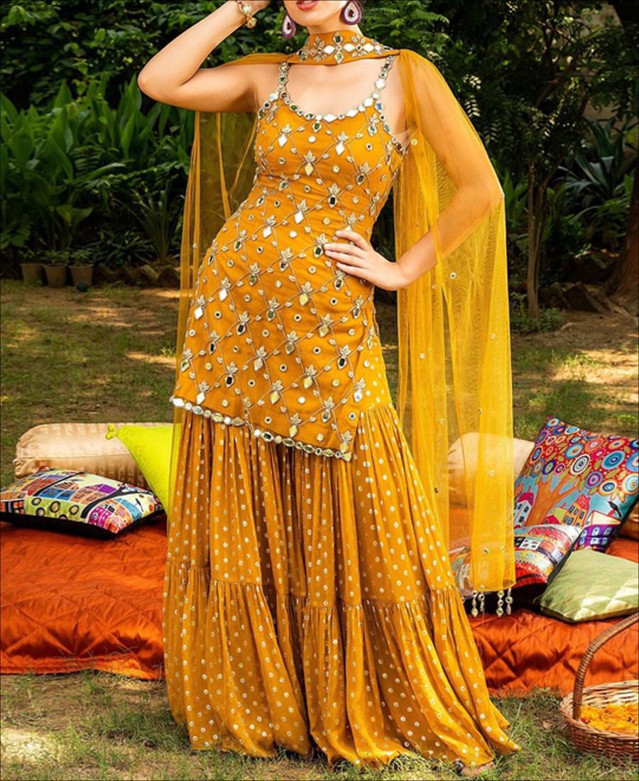 RE - Yellow Semi-stitched Sharara Sleeveless Suit