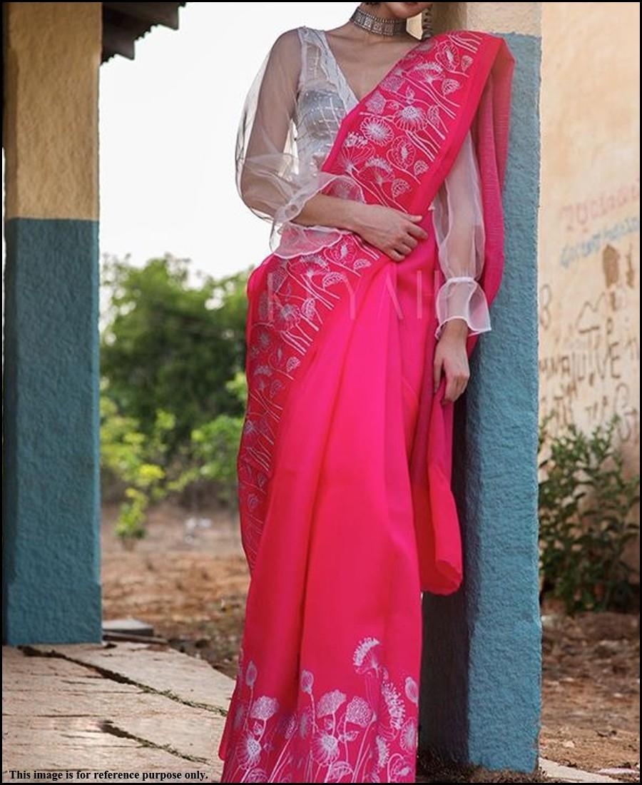 VF - Elegant Gajari Pink chanderi cotton white thread embroidered saree