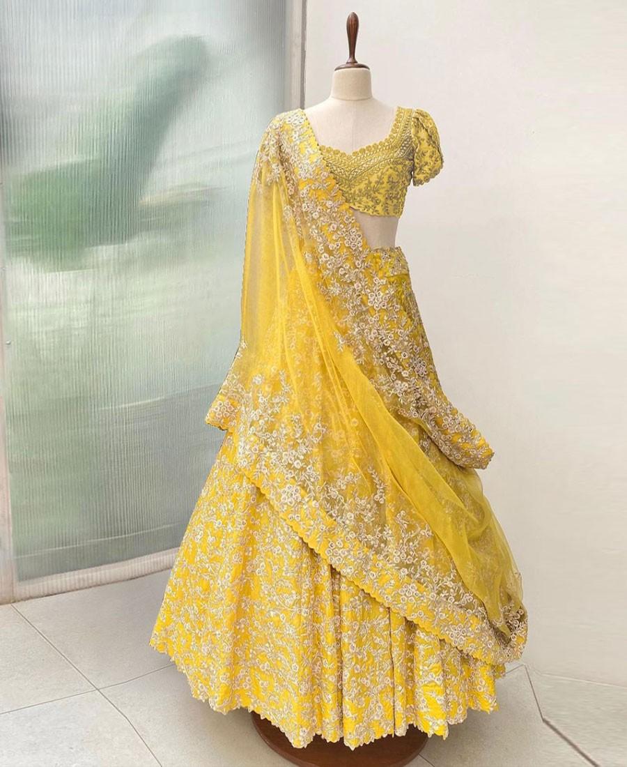 RE - Adorable Yellow Colored Jalpari Silk Lehenga Choli