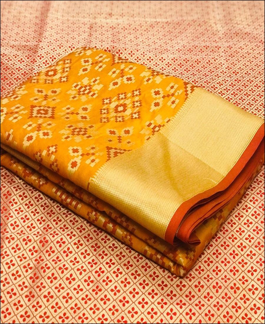 RE - Soft banarasi silk weaving work Yellow saree