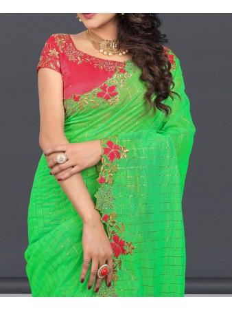 SP - Exquisite Green Naznin Diamond Embroidered Saree