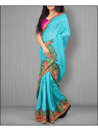PF - Jacquard vichitra silk heavy border turquoise saree