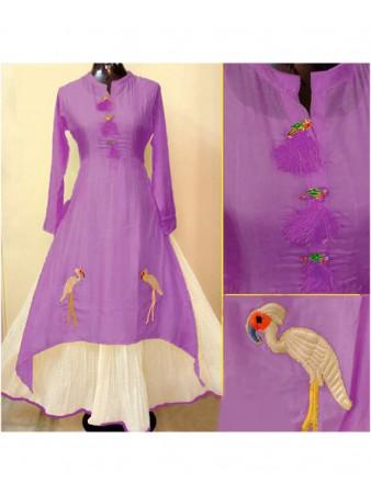 Rimzim Enterprise - Pretty Purple Chanderi Cotton Designer Kurti
