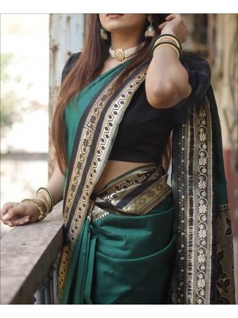 RE - Handcrafted Banarasi Katan Green Saree