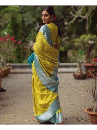 RE - Yellow Colored Soft Lichi Silk Saree