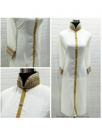 RE - Ingenue White Chanderi silk Semi Stitched Suit without Dupatta