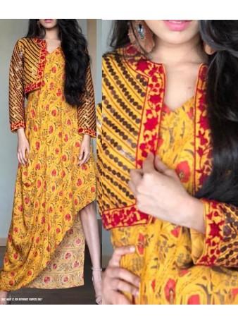 RE - Stylish yellow mashlim silk printed kurti