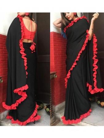 RE - Party wear black vichitra silk plain saree