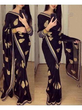 GW - Partywear black vichitra silk embroidered saree