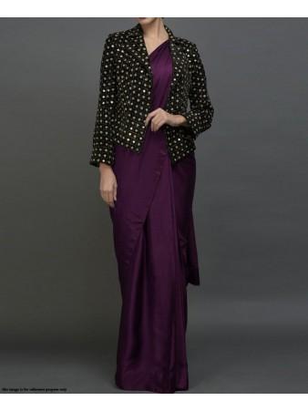 GW - Solid Purple Paper silk fabric velvet jacket saree