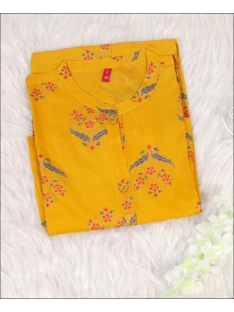 Rayon Yellow color Block Print Kurti