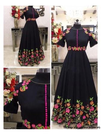 RE - Classic Black Heavy Banglori Silk Thread Work Gown