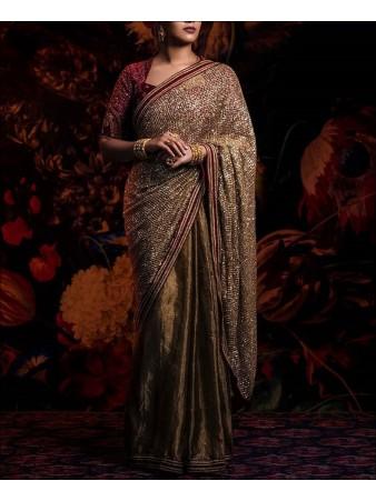 RE - Brown Colored Kasturi Silk Half & Half Saree