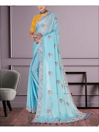 RE - Sky Blue Colored Organza Silk Saree