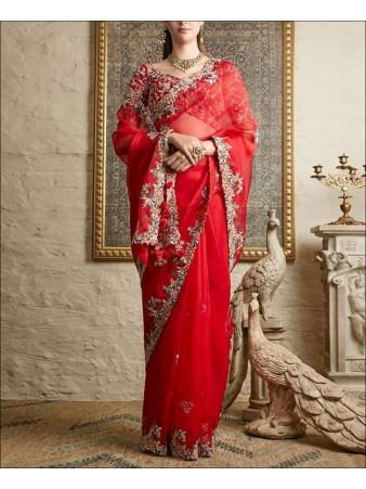 RE - Red Colored Organza Silk Saree