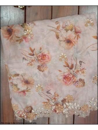 VF - Jari embroidered sequence organza silk printed light orange saree