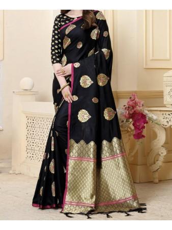 RE - Traditional pure banarasi silk Black heavy pallu saree