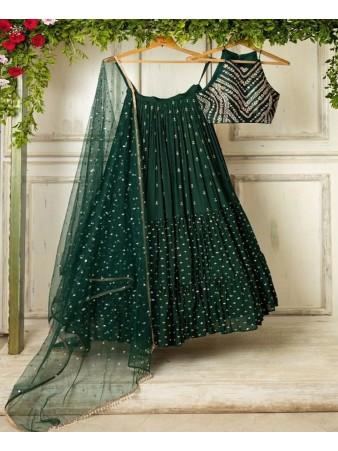 Bottle green designer ruffle Lehenga Choli