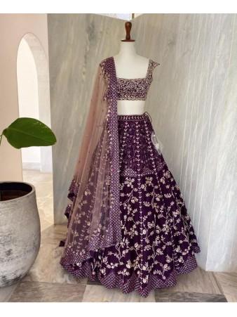 RE - Purple Embroidery Sequence Lehenga Choli
