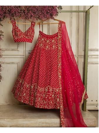 RE - Red Colored Georgette Lehenga Choli