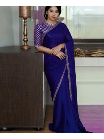 RE - Stunning Blue Colored Georgette Silk Plain Saree