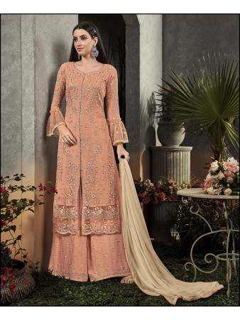RF - Super Model Peach Georgette Sharara Style Suit