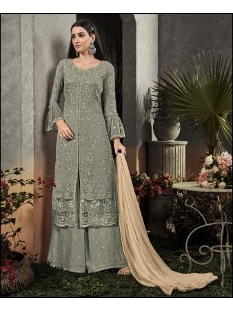 RF - Super Model Green Georgette Sharara Style Suit