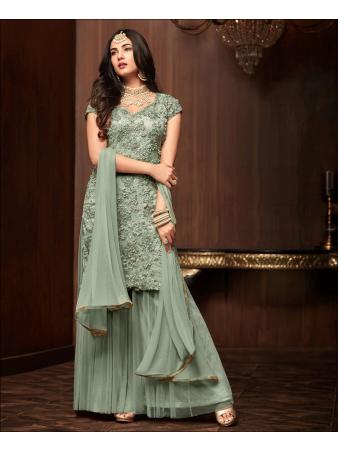 RF - Green Soft Net Pakistani Sharara Style Suit
