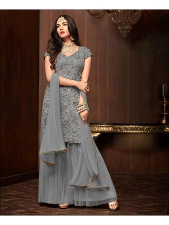 RF - Grey Soft Net Pakistani Sharara Style Suit