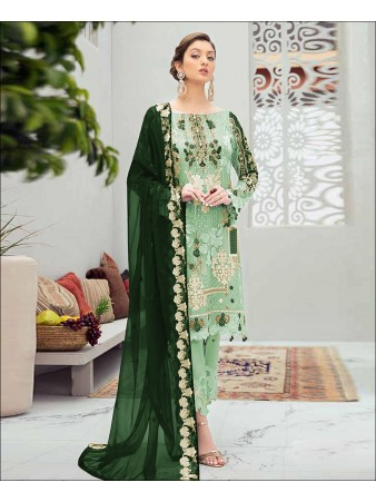 RF - Glorious Green Butterfly Net Embroidered Pakistani Straight Suit
