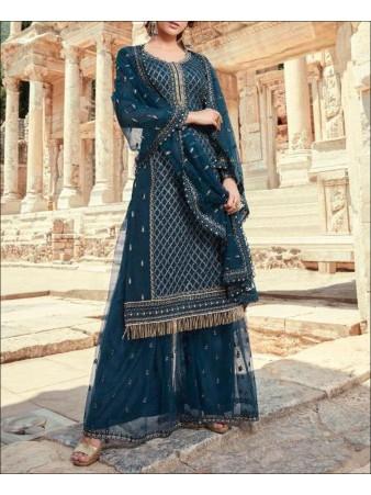 RF - Blue color Faux Georgette Sharara Suit.