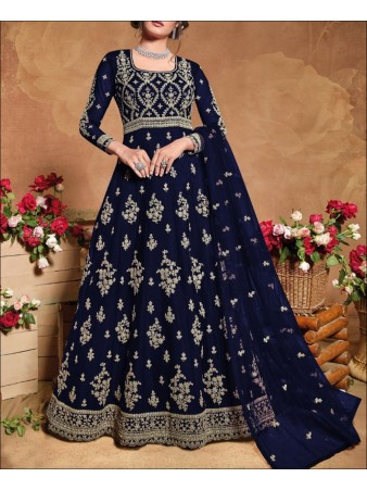 RF - Blue color Soft Net Anarkali Suit.