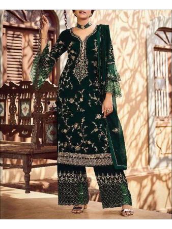 RF - Green color faux Georgette Palazzo Suit.