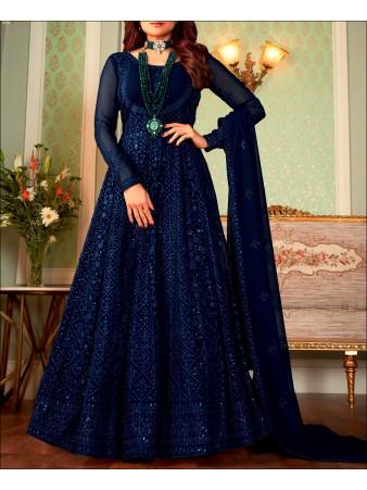 RF - Blue color Georgette Gown Dress.