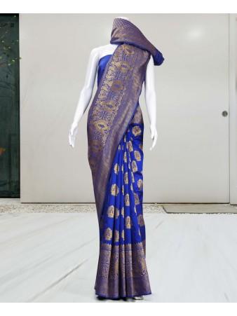 RE - Redolent blue pure jacquard silk weaving saree