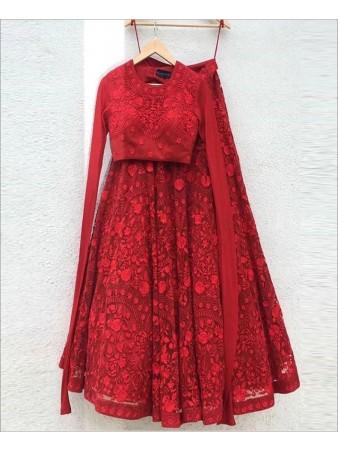 RE - Red Colored Resham Work Lehenga Choli