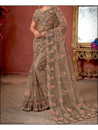 RE - Floral embroidered beige organza silk saree