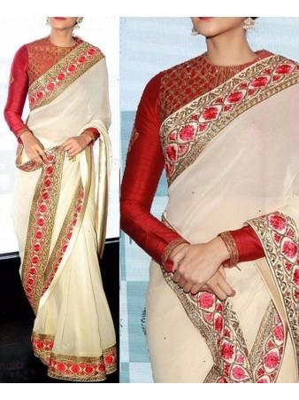 VF - Georgette Bollywood White Designer Sarees