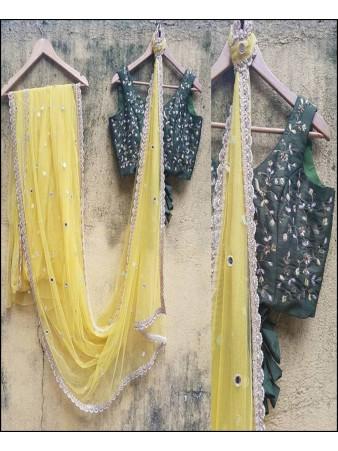 VF - Designer Yellow Net Embroidered saree