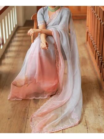 RE - Celebrity style half n half organza silk padding saree