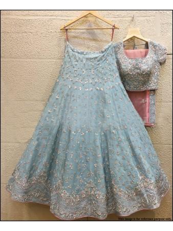 VF - Thread embroidered skyblue muslin silk lehenga