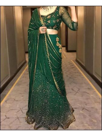 VF - Elegant green glitter bindi work embroidered lehenga