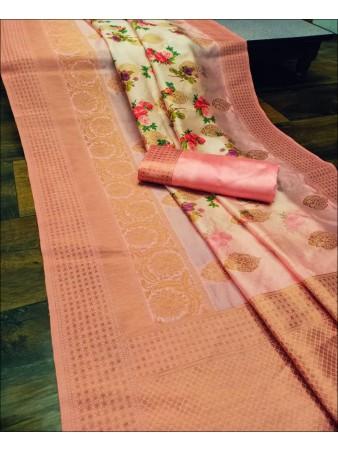 RE - Captivating Peach Colored Lichi Jaquard Silk Saree